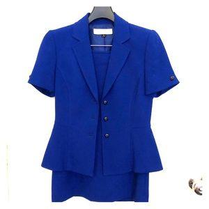TAHARI Short Sleeve Blue Women's Skirt Suit Size 2